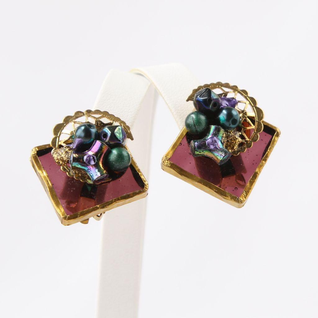Unique Purple Glass Square Clip Earrings