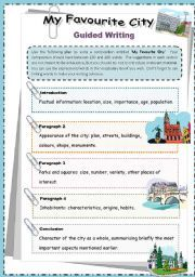 english worksheet my favourite city guided writing esl for elementary pinterest. Black Bedroom Furniture Sets. Home Design Ideas