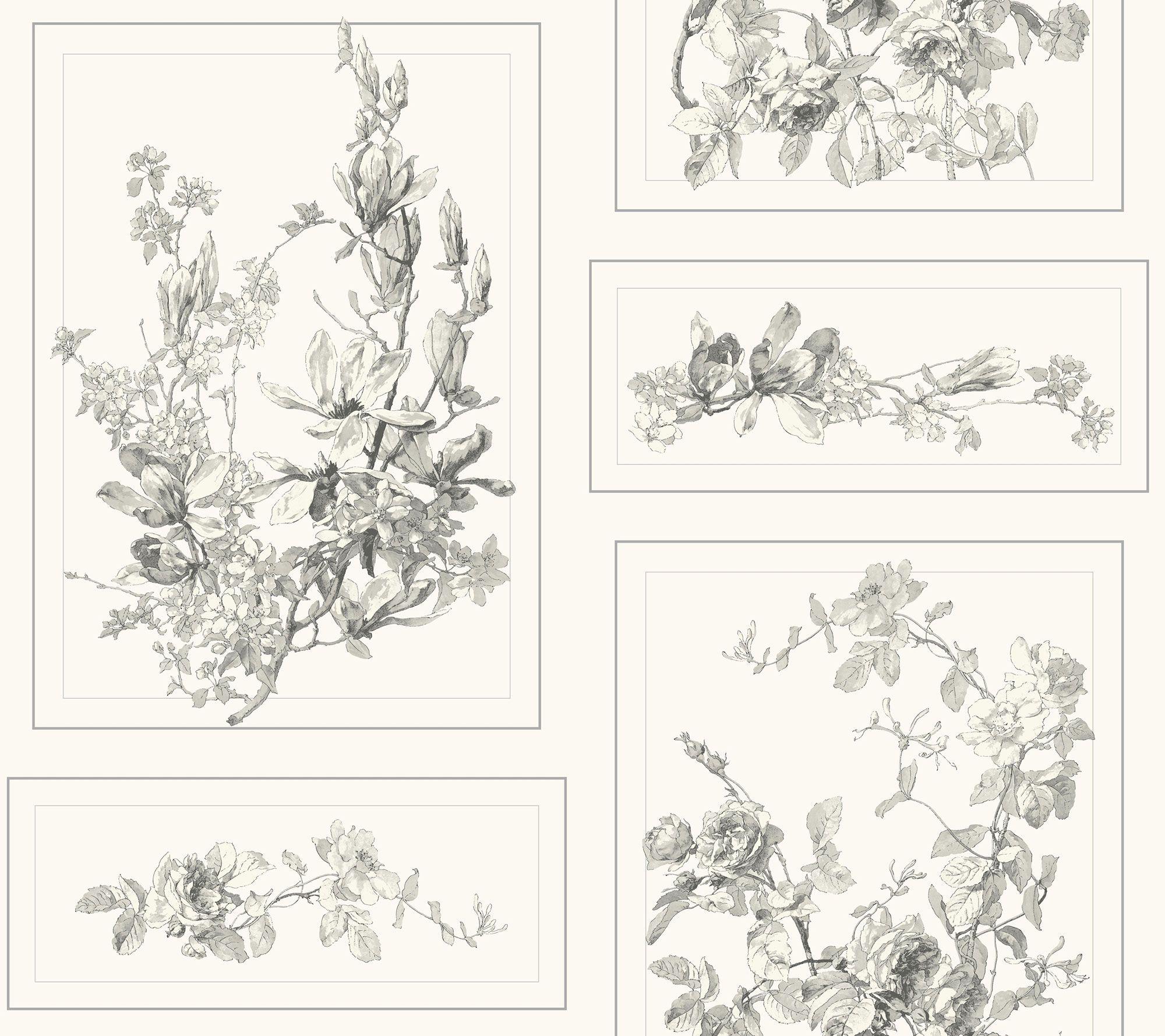 Magnolia Home The Magnolia Wallpaper Gray & Off white