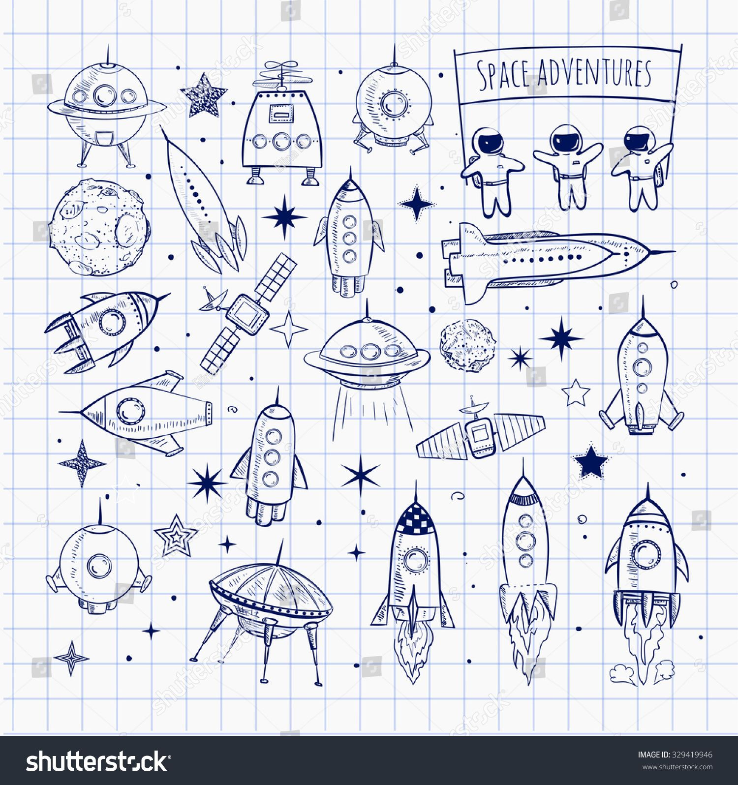 Collection Of Sketchy Space Objects Isolated On Squared