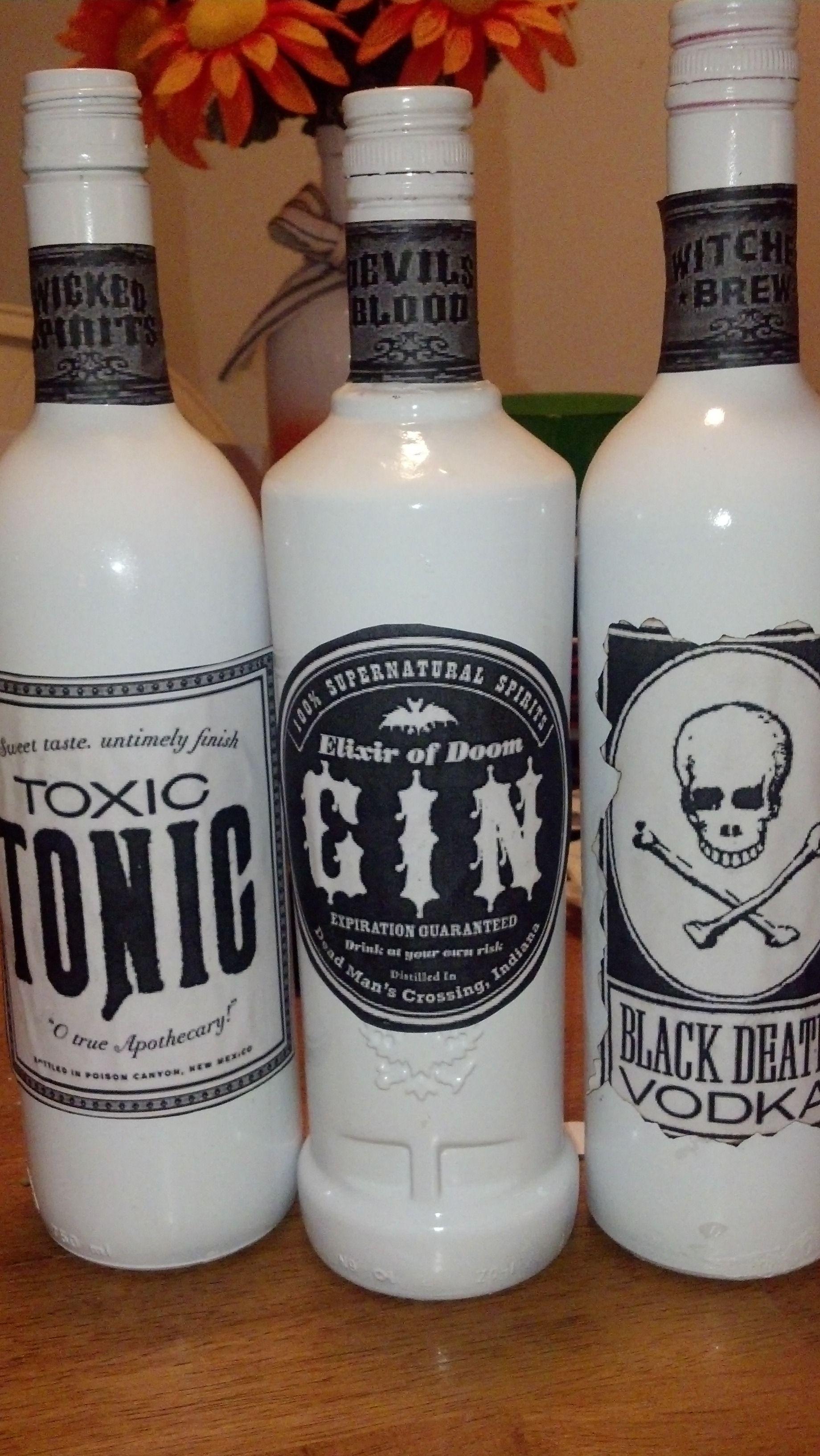 Spooky Liquor Bottles Trick Or Treat Fun Halloween Decor Wine Bottle Crafts Bottle Crafts
