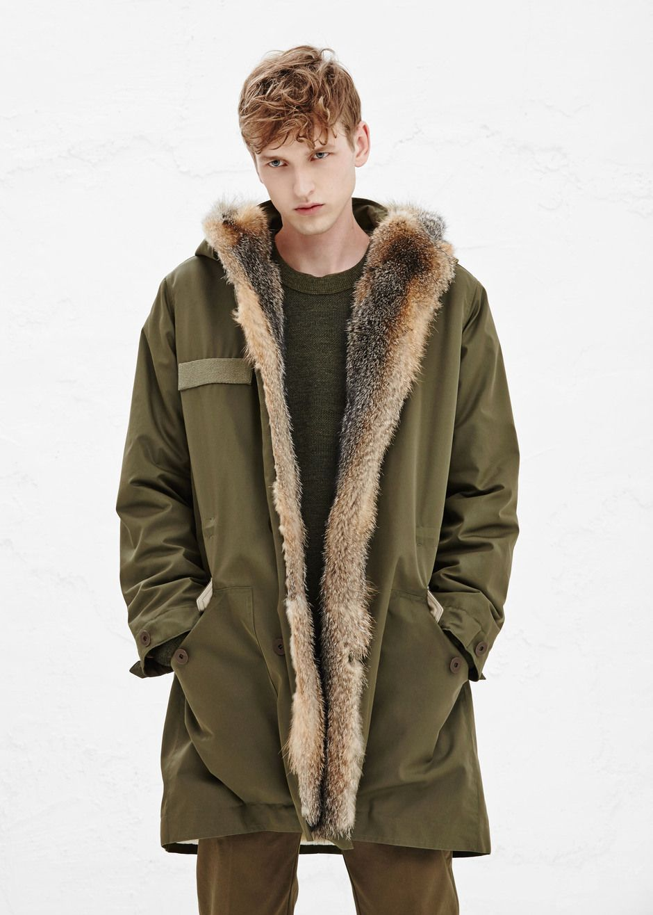 54a1f5cca786 A.P.C. Kanye Parka With Fur in Kaki Militaire — http   man.totokaelo