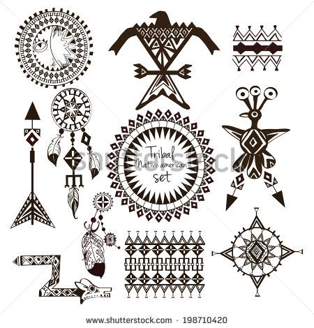 Tribal Native American Indian Tribes Ornamental Black And White De