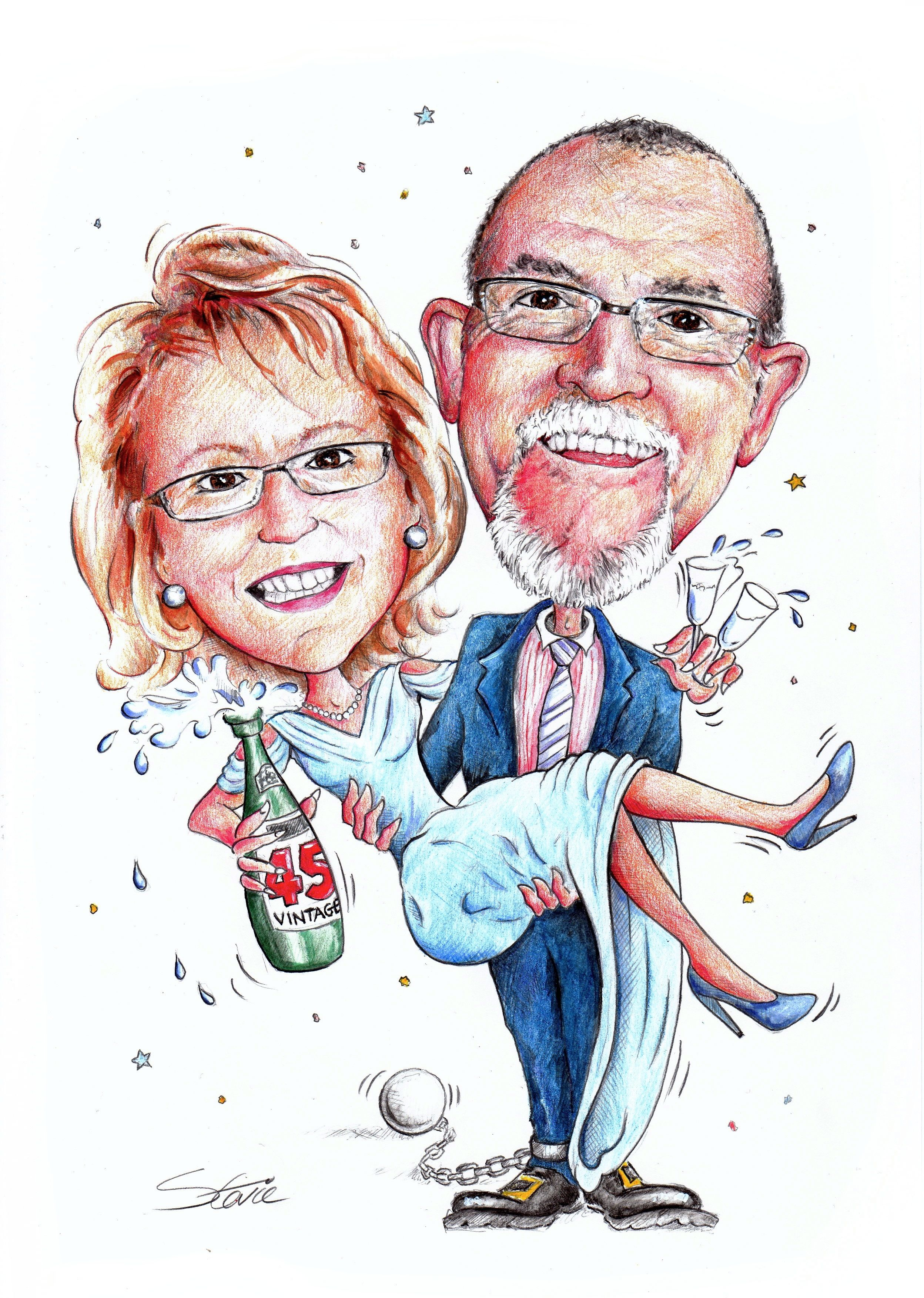 Commissioned Caricature for a 45th Wedding Anniversary