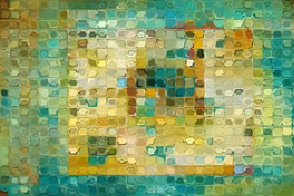 Tile Art #5, 2016. Turquoise Gold Mosaic. Traditional Fine Art. Original limited edition signed/numbered canvas & paper giclees by artist Mark Lawrence.