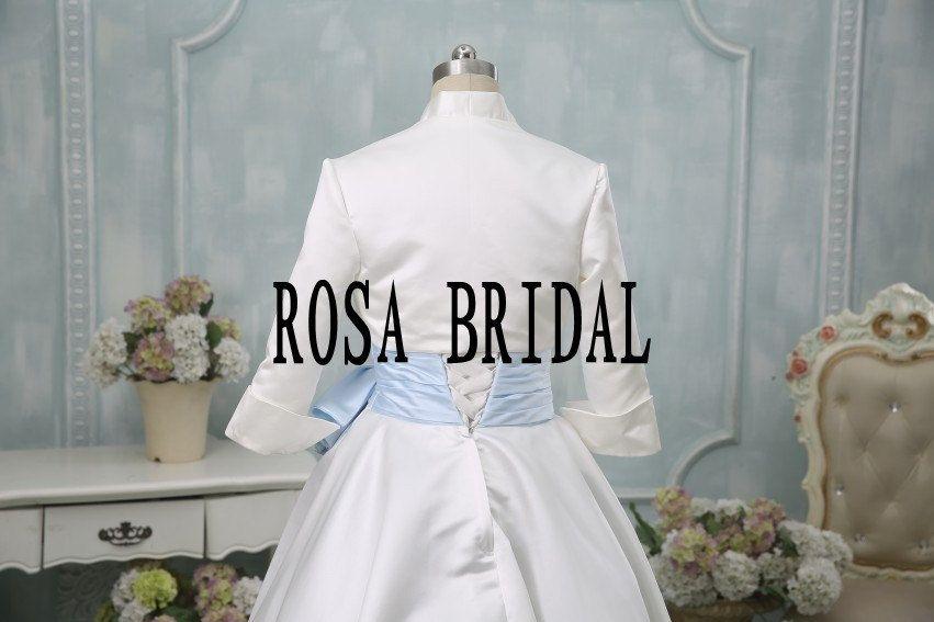 Bridal 3/4 sleeve satin wedding bolero jacket shrug by rosabridal