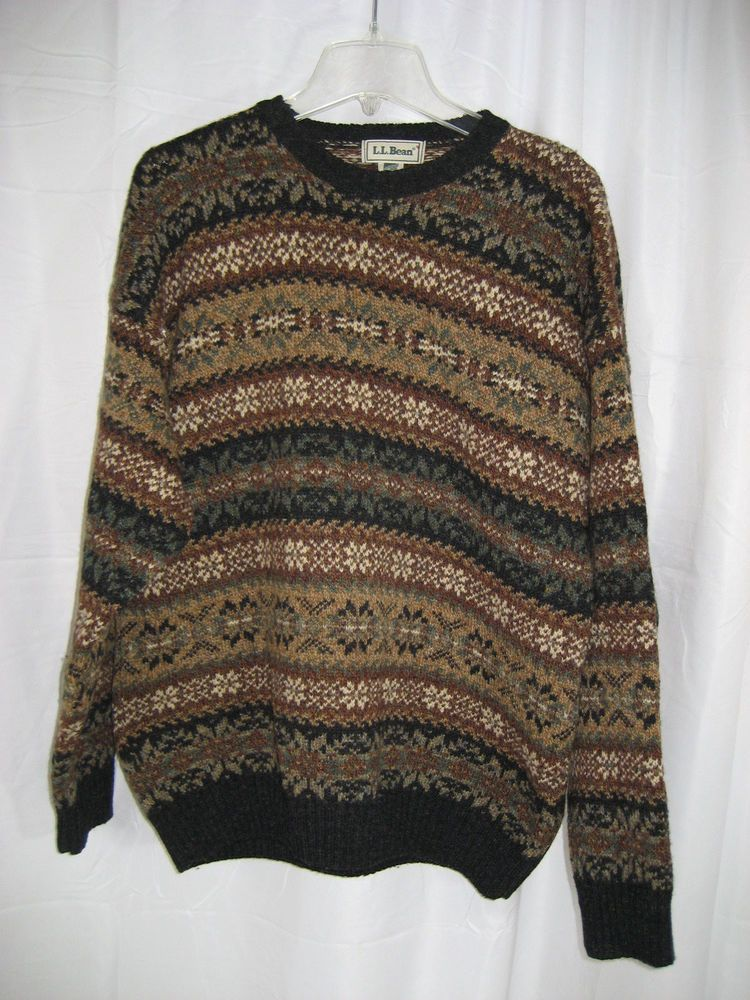 Ll Bean Mens Made In Scotland New Zealand Multi Color Wool Sweater