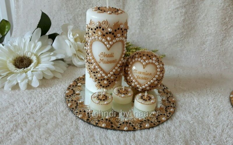 Mehndi Wedding Henna Candle Candles Set Wedding Gift Decorated