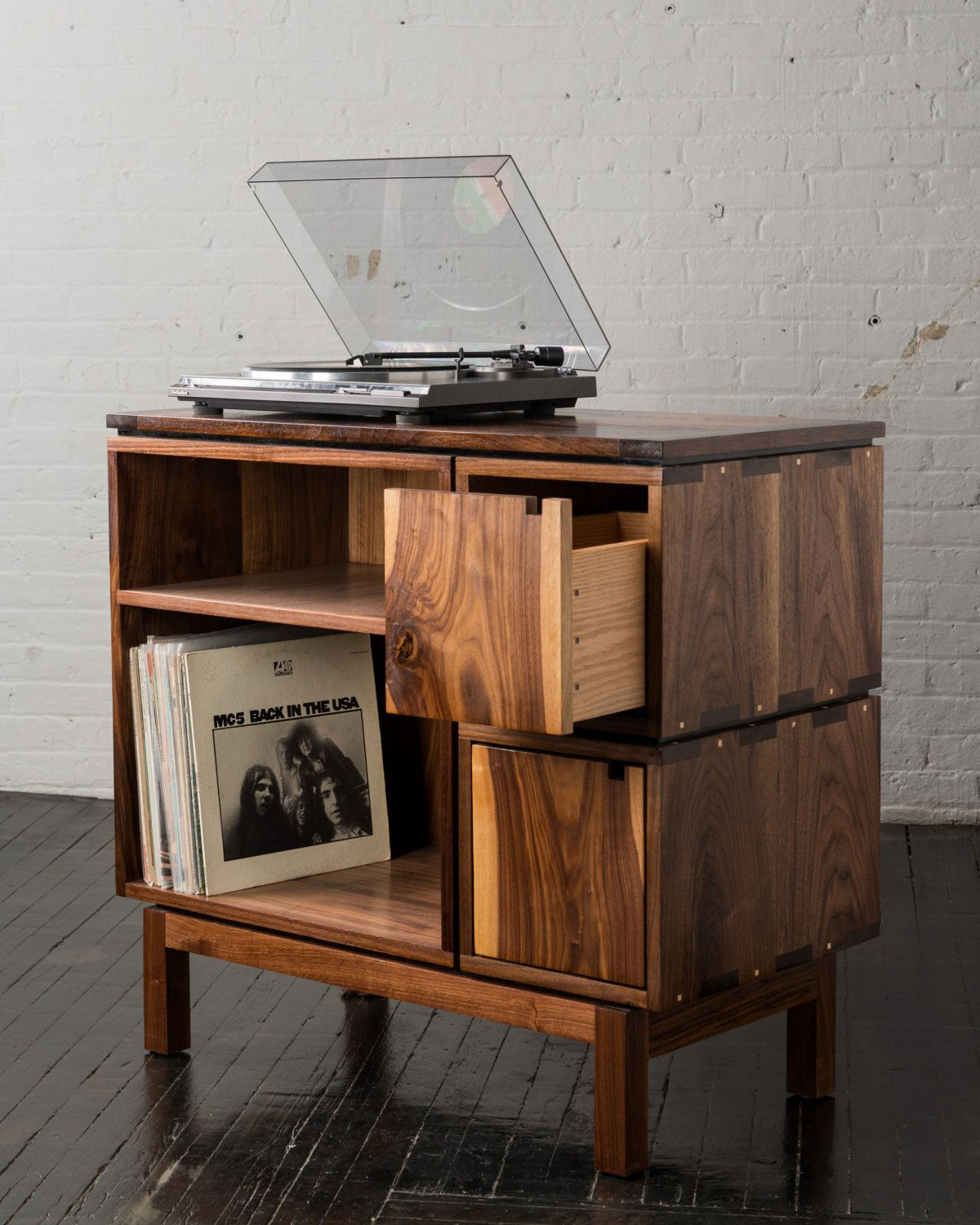 walnut record player stand price reduced front shot finished vinyl record