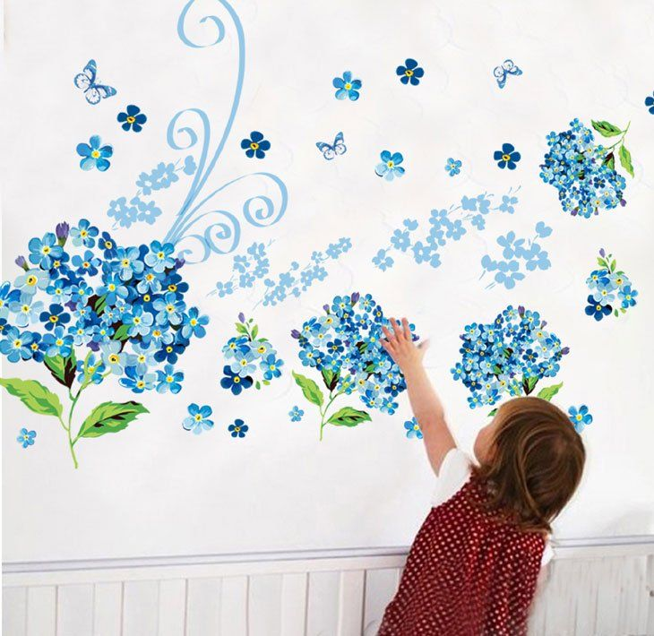 Blue Flowers Butterfly Room Home Decor Removable Wall Stickers Decals Decoration