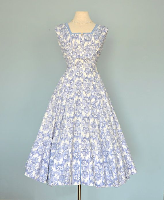 Vintage Wedding Dresses Miami: Vintage 1950s Party Dress...MARJAE MIAMI Lavender Blue By