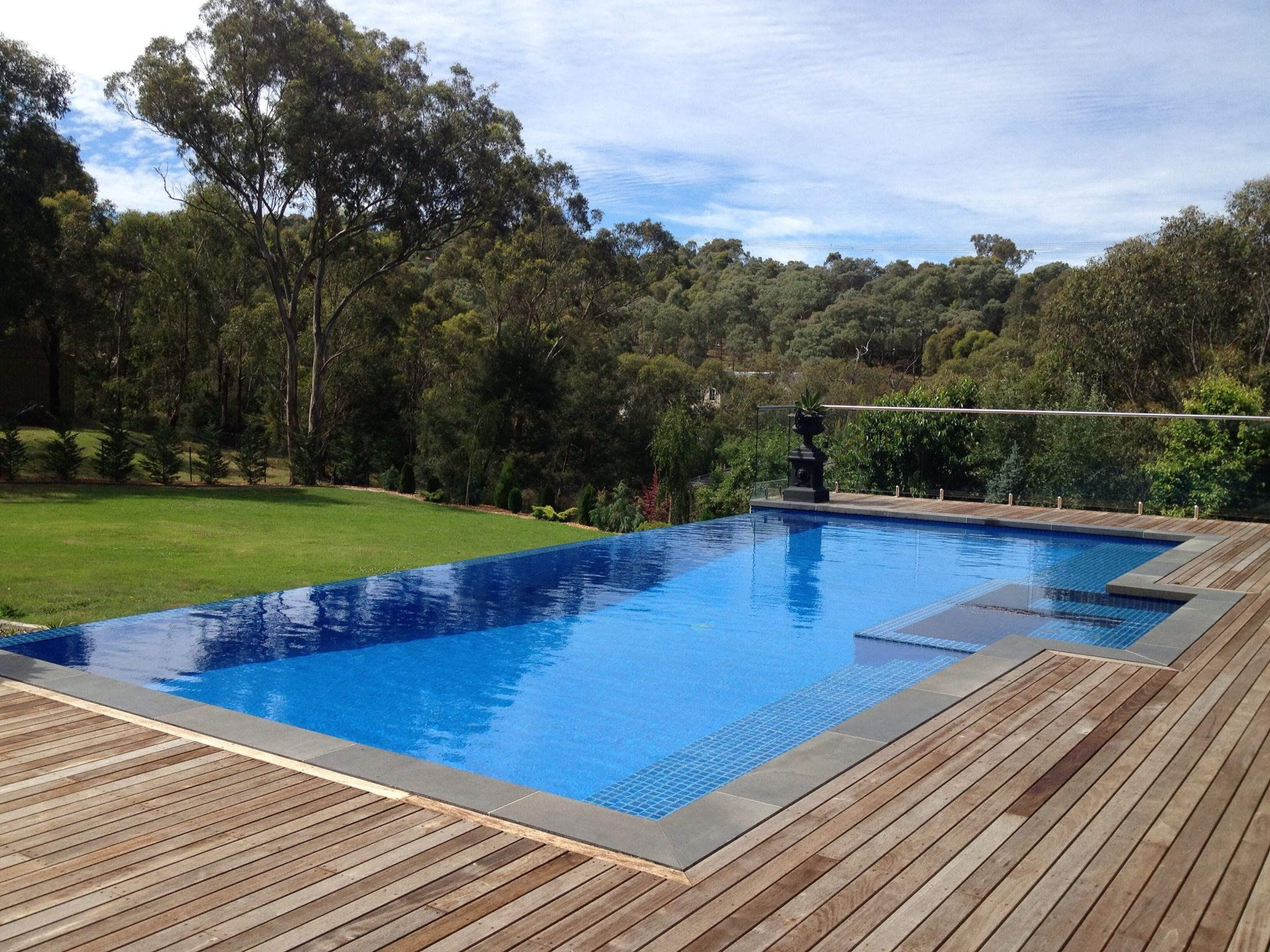 Beautiful Pool, Simple And Stylish Designs Ideas Pictures Of Infinity Pools With Dark  Wooden Deck For