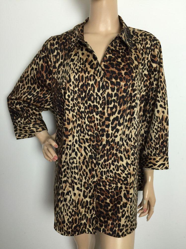 Lane Bryant Animal Print Cheetah 3 4 Sleeve Button Down Shirt Women's Size 22 | eBay