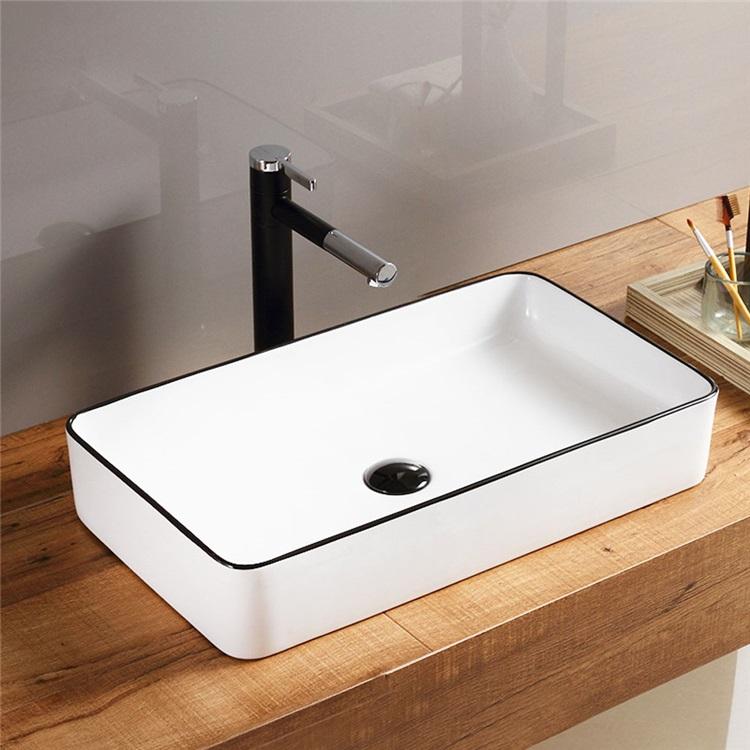 洗面ボール 手洗い鉢 手洗器 洗面ボウル 洗面器 陶器 角型 白色 排水栓 排水トラップ付 60 5cm Sk8240 洗面器 シンク 洗面ボウル