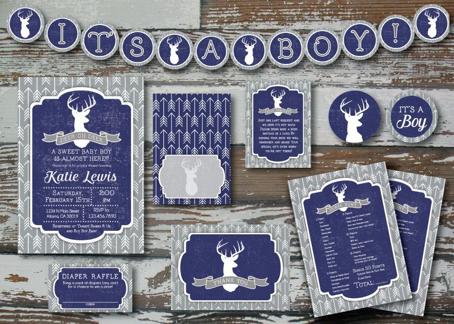 Navy Deer and Arrow Baby Shower Invitation PLUS 2 extras by ...