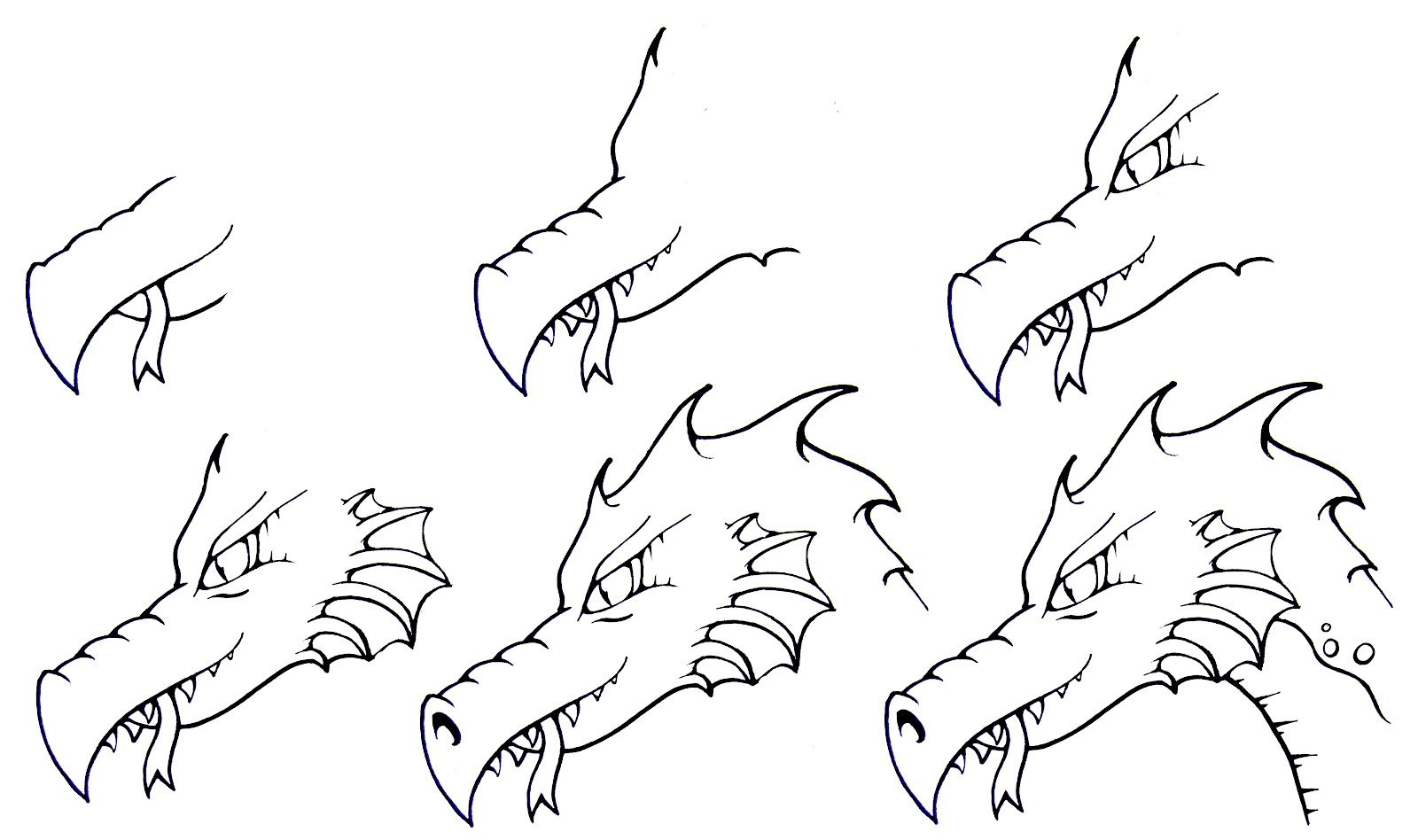 How to draw simple how to draw a dragon six easy steps