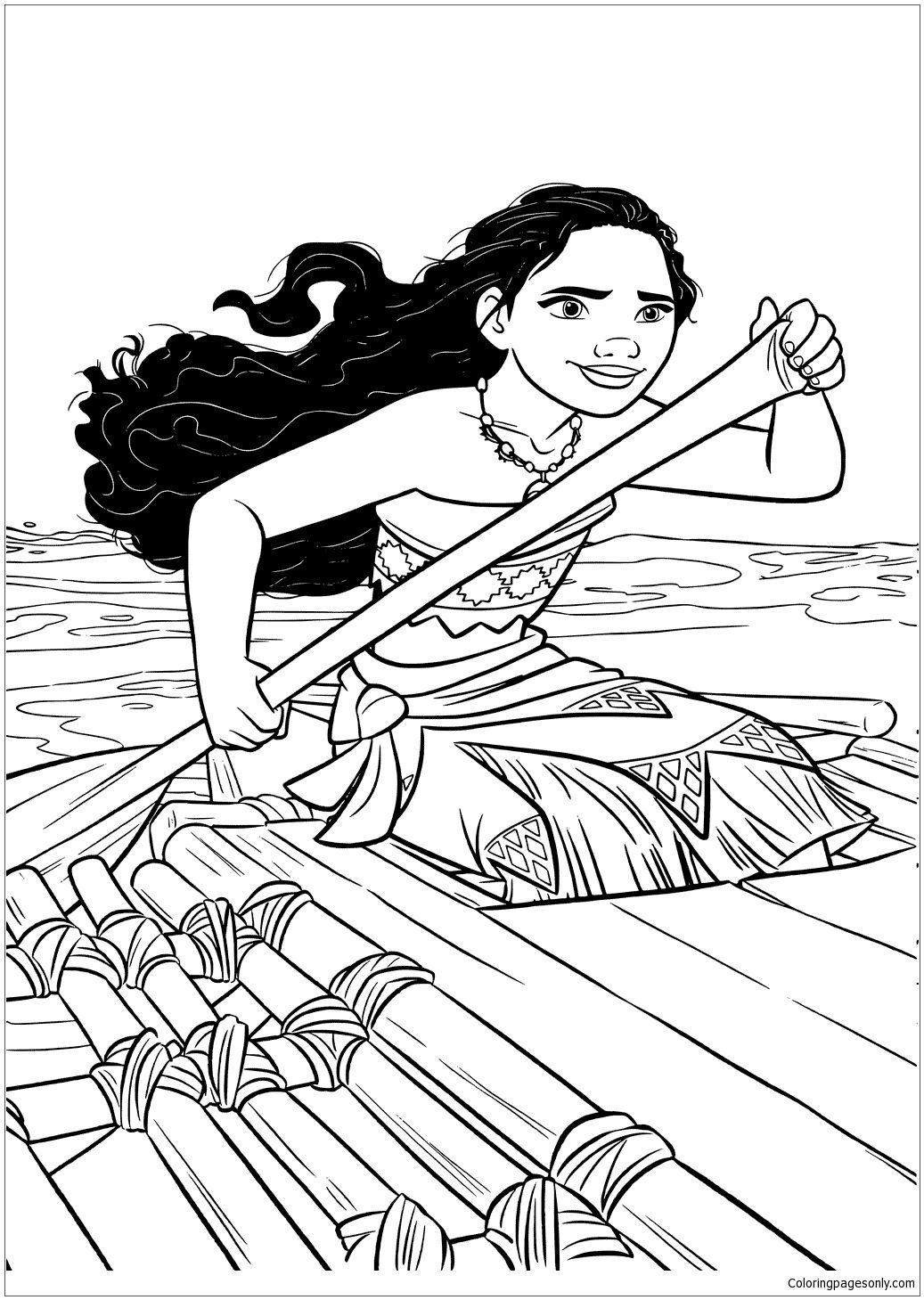 Moana In A Boat Coloring Page With Images Moana Coloring