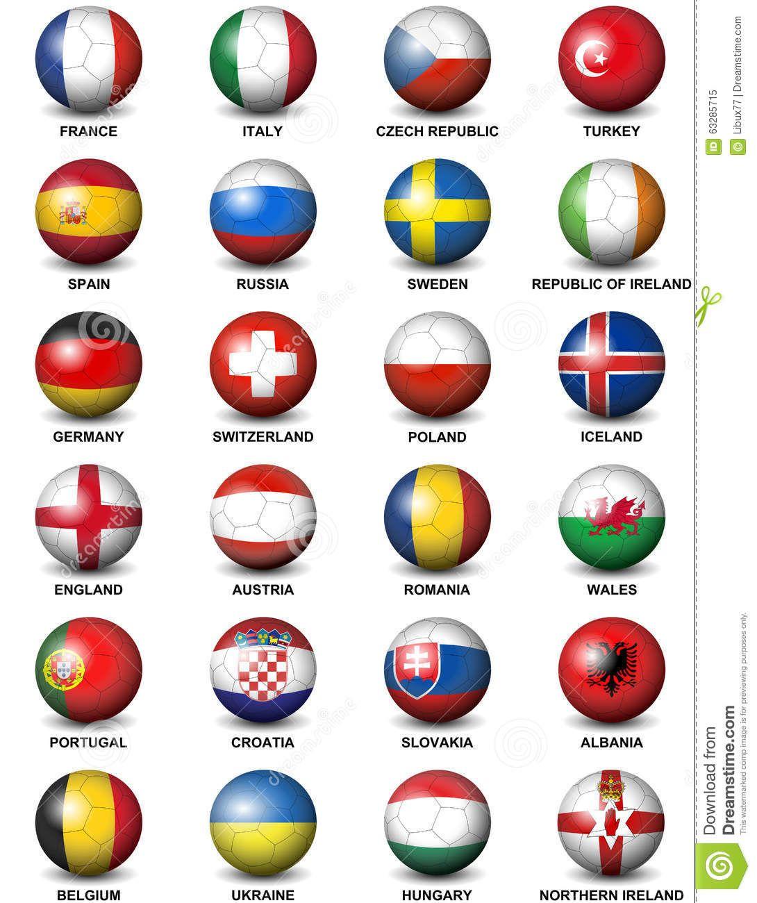Soccer Ball European Countries Flags Euro 2016