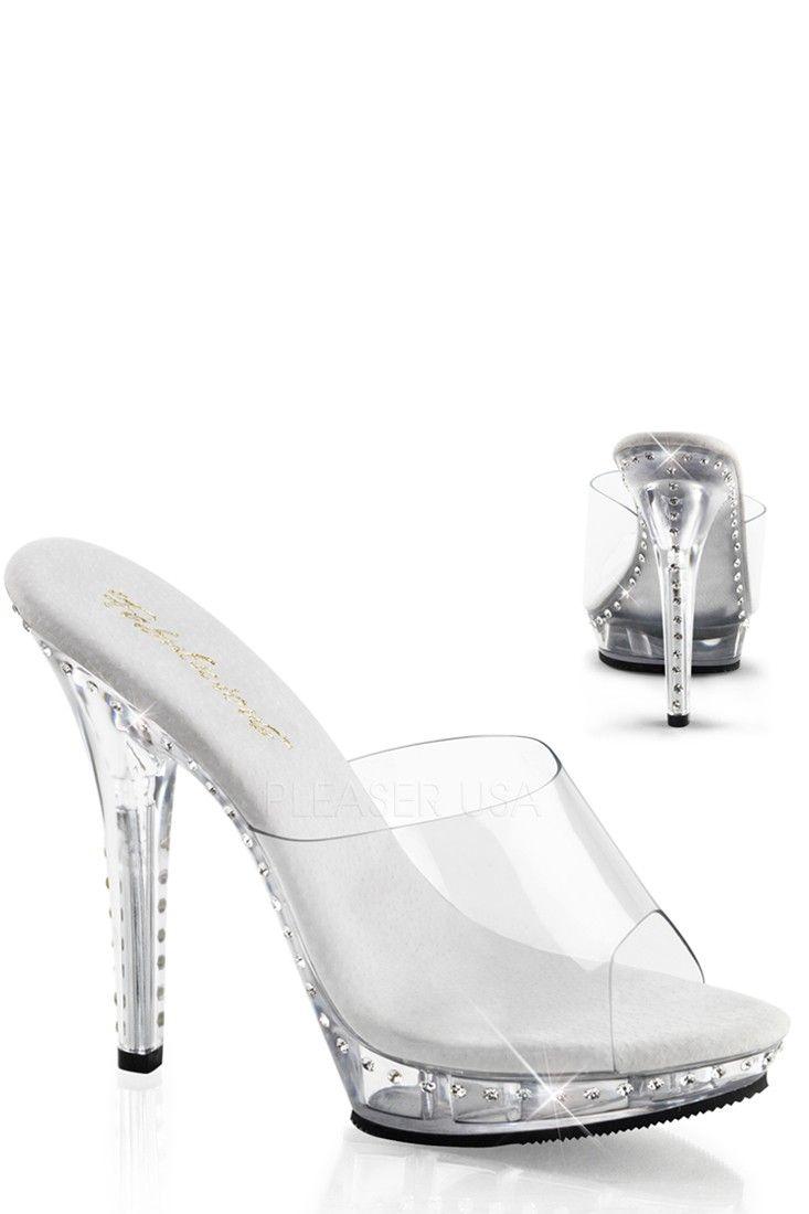 6d68cf9fd919 Clear Clear Rhinestone Slip On High Heels PVC