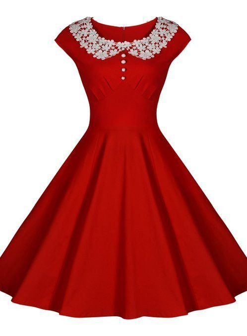 Red Vintage Dress with Lace Collar  Red Merry christmas and Lace ...