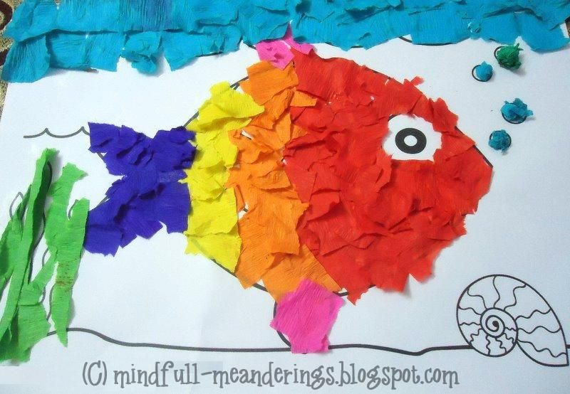 Rainbow Fish Crepe Paper Collage Art (With images) | Rainbow fish ...