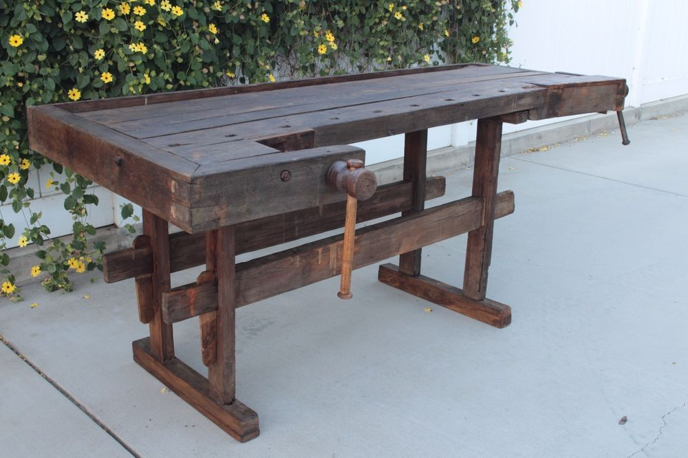 1800 S Antique Wood Woodworking Carpenters Work Bench Table Vises Kitchen Island Woodworking Wood How To Antique Wood Woodworking Plans Kitchen