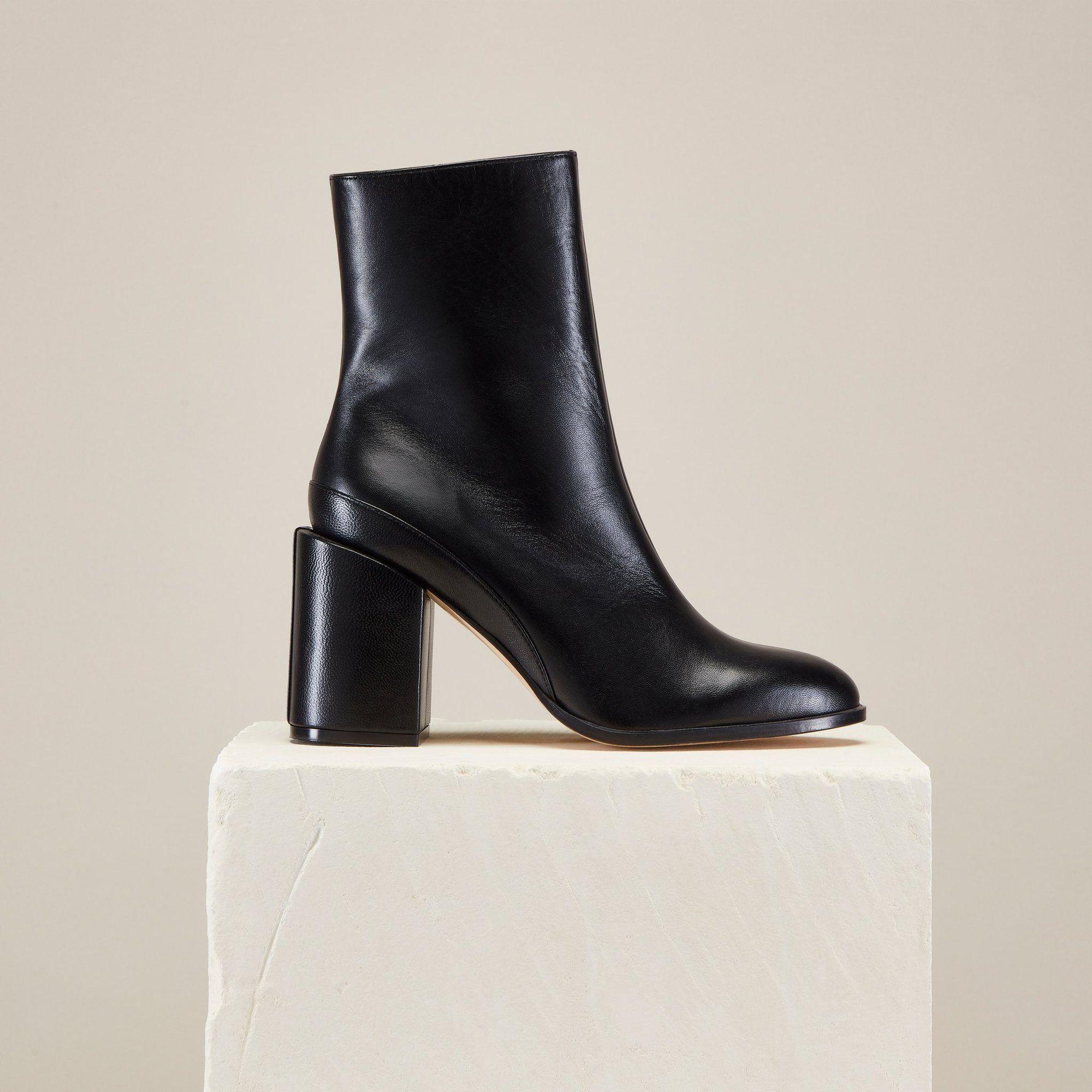 1f9ab40b05d Designer luxury Italian made timeless classic ankle booties, black leather  block heel women's, Spirit boots, Dear Frances