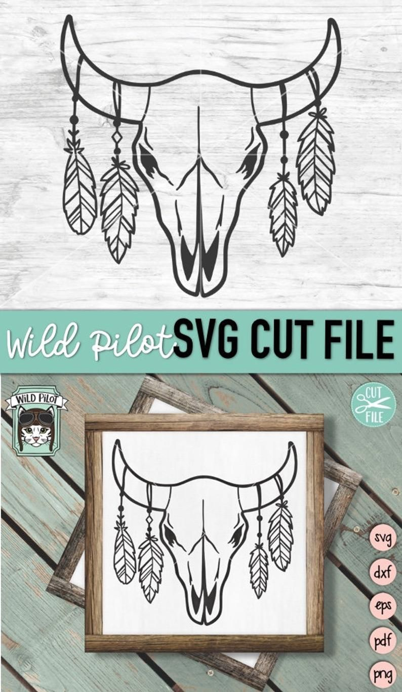 Cow Skull with Feathers SVG Cow Skull svg file Cow Skull