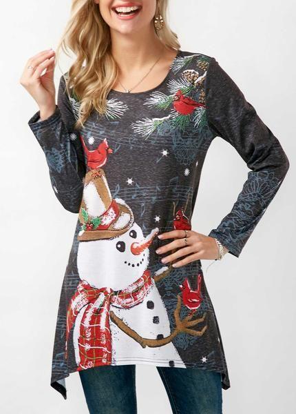 Gorgeous Asymmetric Hem Long Sleeve Christmas T Shirt
