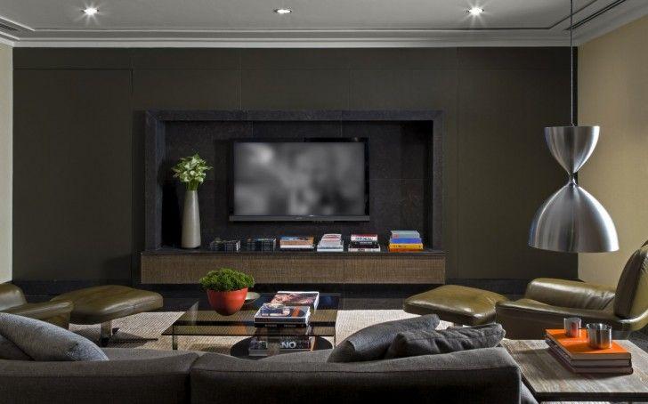 Living Room Modern Dark Gray Beige Family Tv Room Design