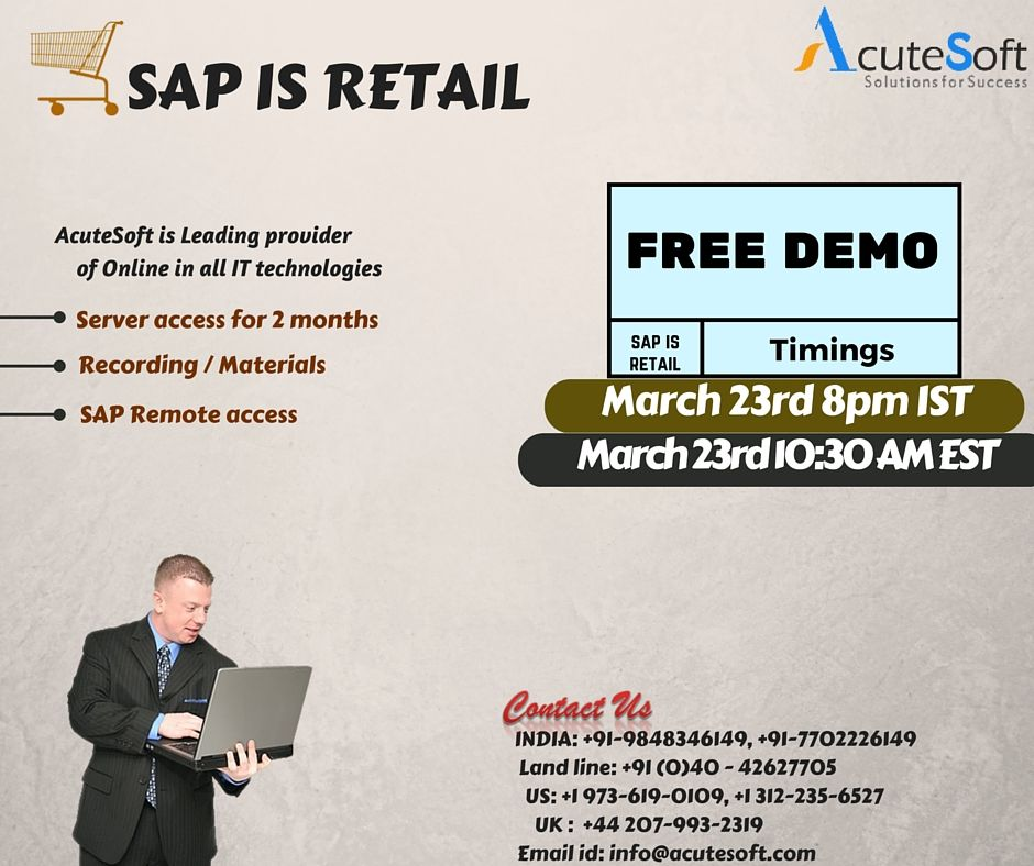 Attend free live demo for SAP IS RETAIL with real time experts SAP