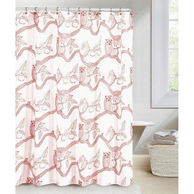 Duck River Eve Owl Print Shower Curtain Cranberry
