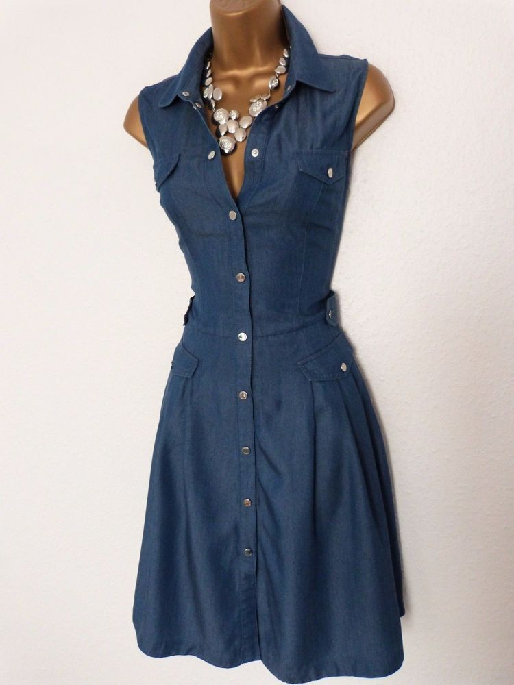 3715047c Karen Millen Stunning Soft Denim Safari Shirt Fit and Flare Dress Size 14  #fashion #clothing #shoes #accessories #womensclothing #dresses (ebay link)