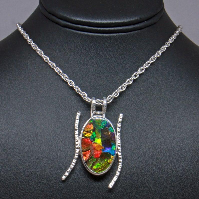 Ammolite 925 Silver Necklace