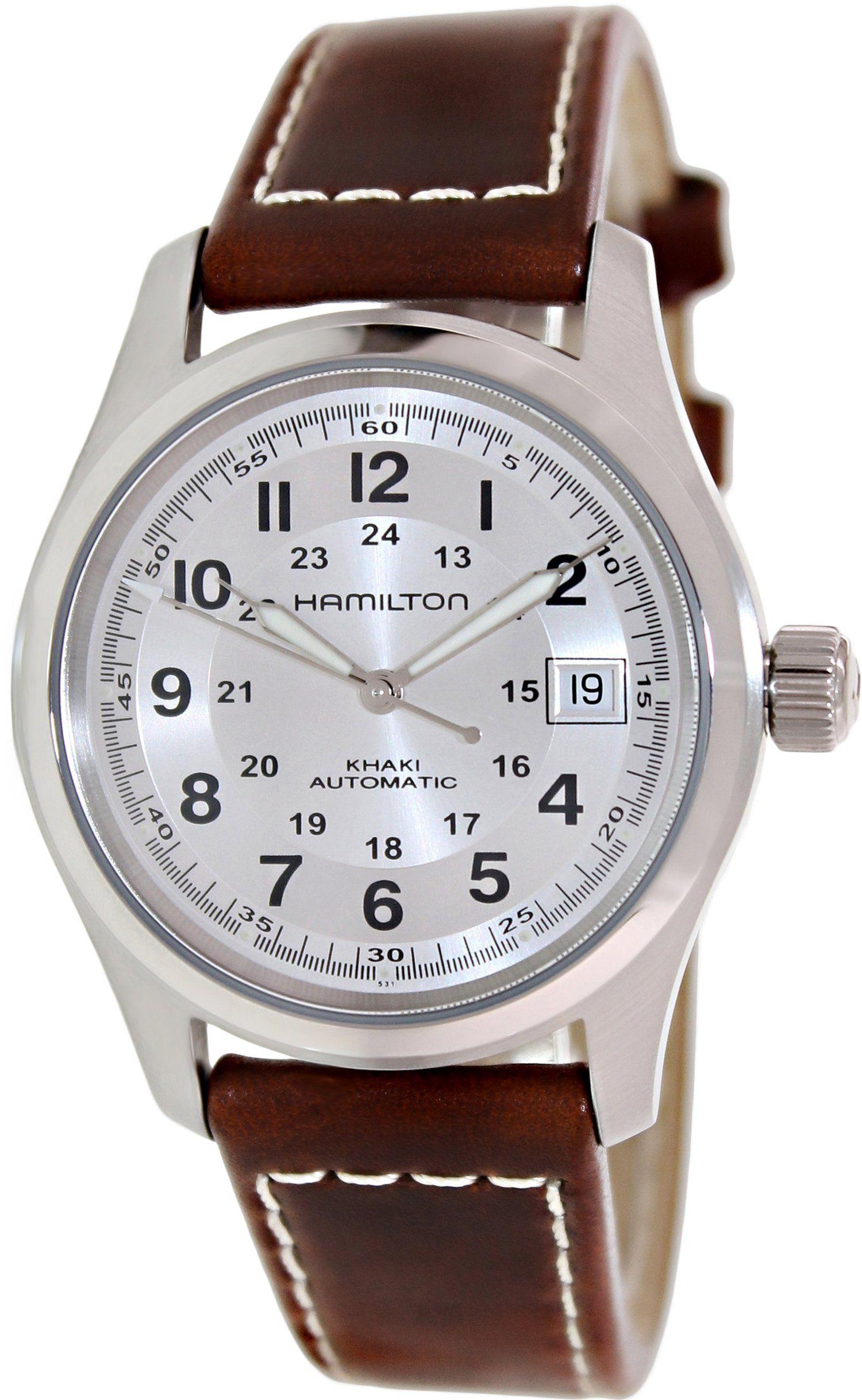 28dc45b2dcd Amazon.com  Hamilton Khaki Field Silver Dial Mens Watch H70455553  Hamilton   Watches