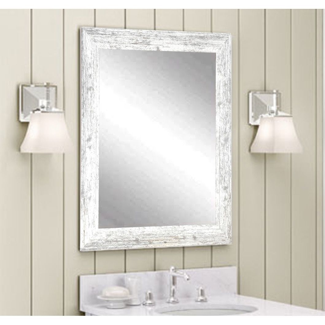 The Gray Barn Wilset Distressed White Wall Mirror 32 X 36 White Gray Grey Wall Mirrors White Wall Mirrors Vanity Wall Mirror