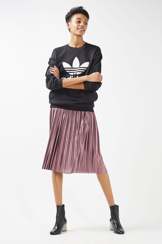 46b3df89d6 Topshop Metallic Jersey Pleated Skirt – DACC