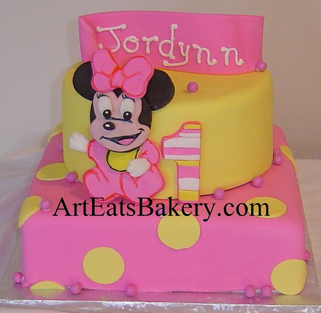 Two Tier Pink And Yellow Polka Dot Fondant Baby Minnie Mouse Girls