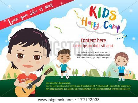 Colorful kids summer camp diploma certificate template in cartoon - certificate template for kids