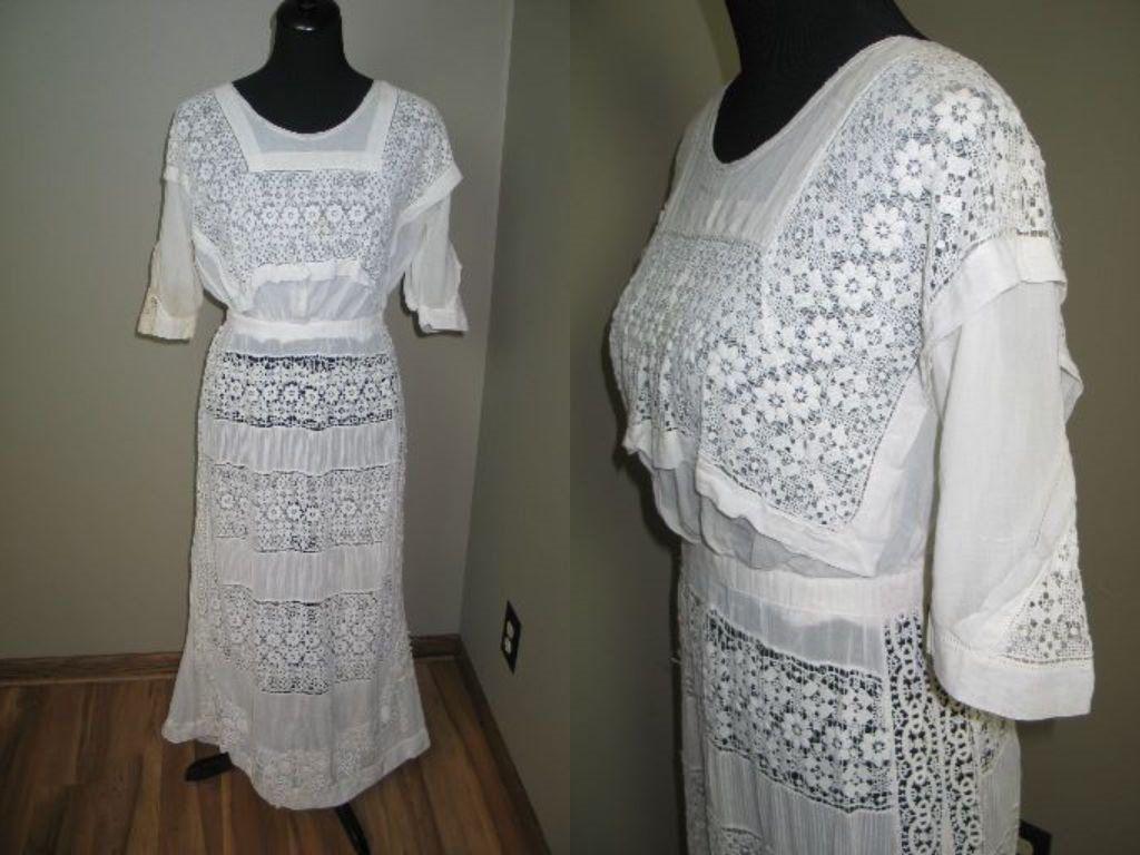 Photo of Edwardian Dress / 1900s Antique Vintage Lace Dress / IRISH Crochet Lace / White Cotton Needle Lace / Tea Wedding Dress