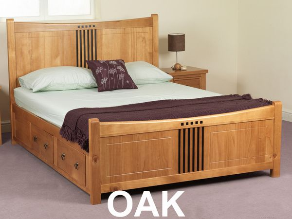Pine King Beds With Drawers Curlew Wild Cherry King Size Pine Bed Frame With 4 Storage Drawers Bed Frame With Storage Pine Bed Frame Oak Bed Frame