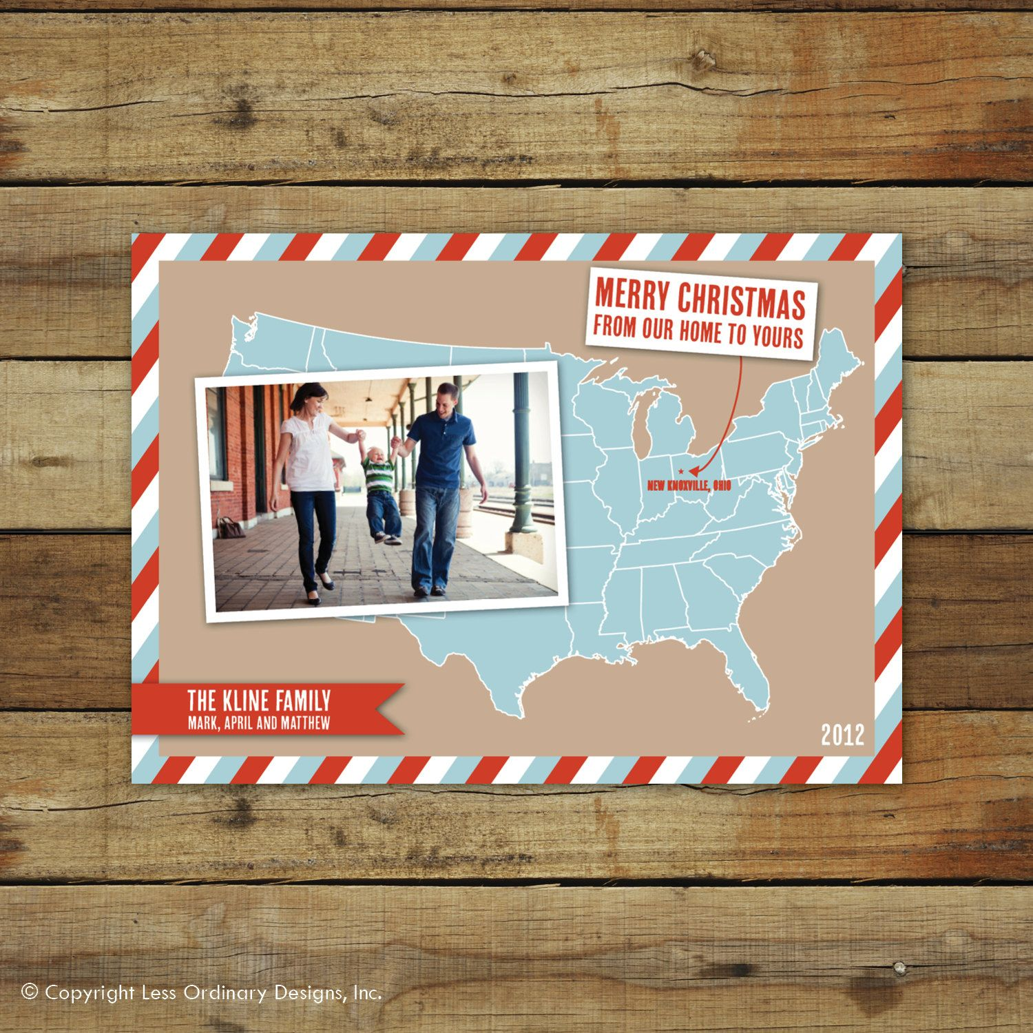 US Map Christmas card, moving announcement, we\'ve moved, Merry ...