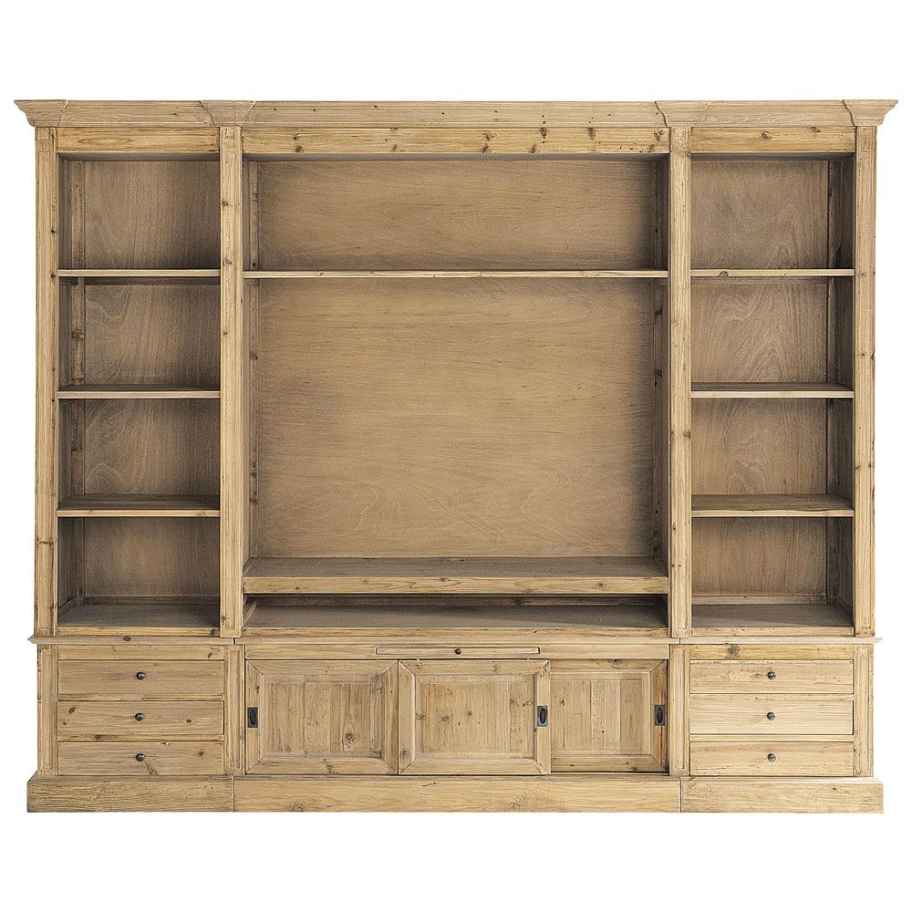 Recycled Solid Pine TV Unit Bookcase | Muebles de salón, Madera ...