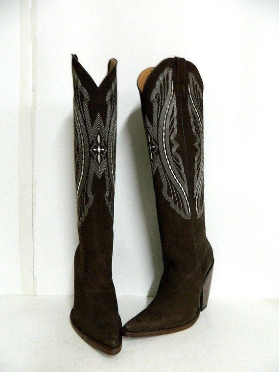 effde0530af Made to order nubuck leather cowboy boots 22 inch tall made to order ...