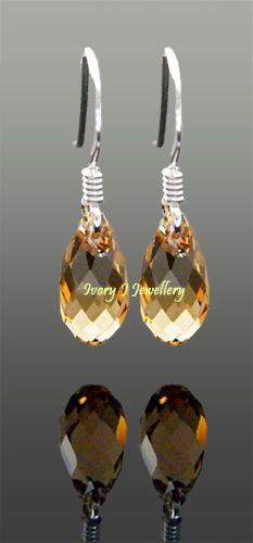doncrystalsandpearls-Tiny Brown Light Colorado Topaz Teardrop Earrings Swarovski Crystal-$6.10