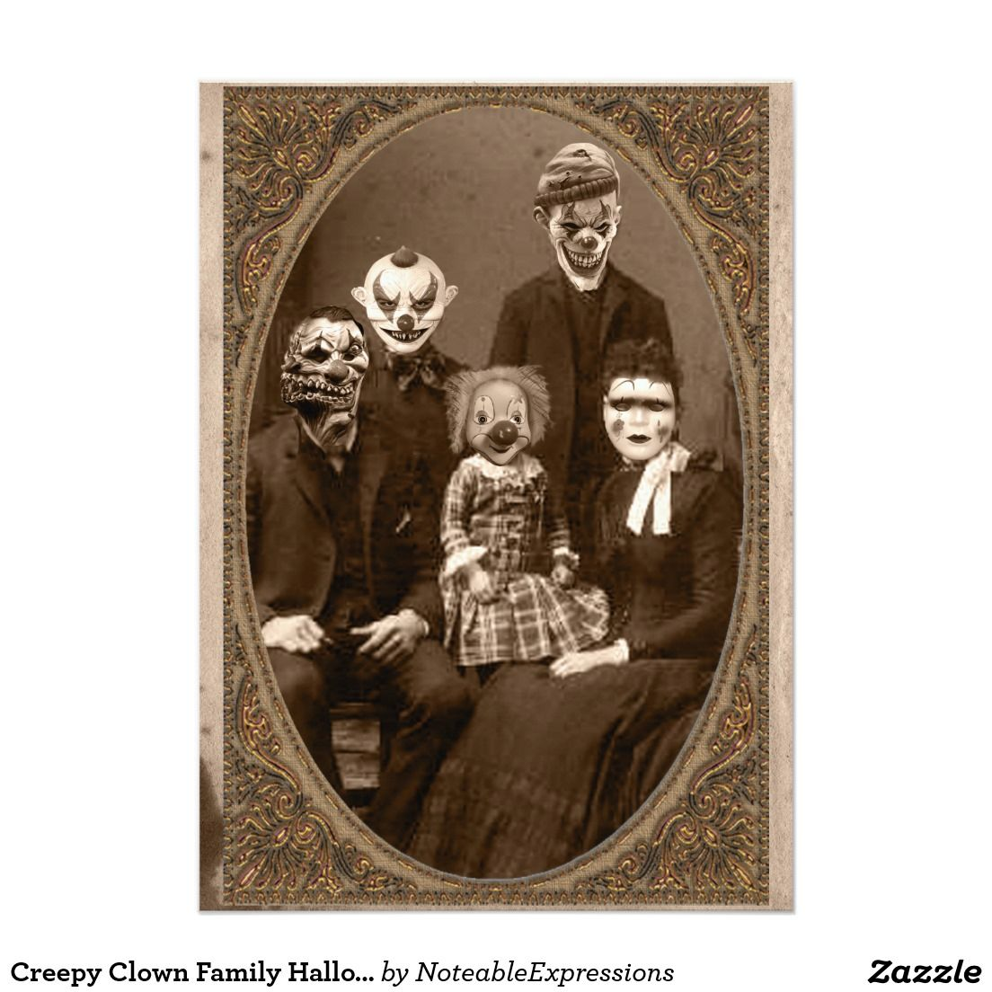Creepy Clown Family Halloween Party Card | Family halloween ...