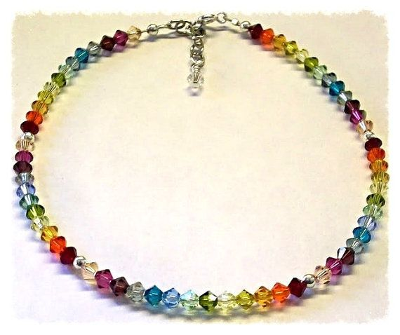 Sterling silver Chakra bracelet beautiful sparkling rainbow Swarovski crystal multi coloured esQF1XM