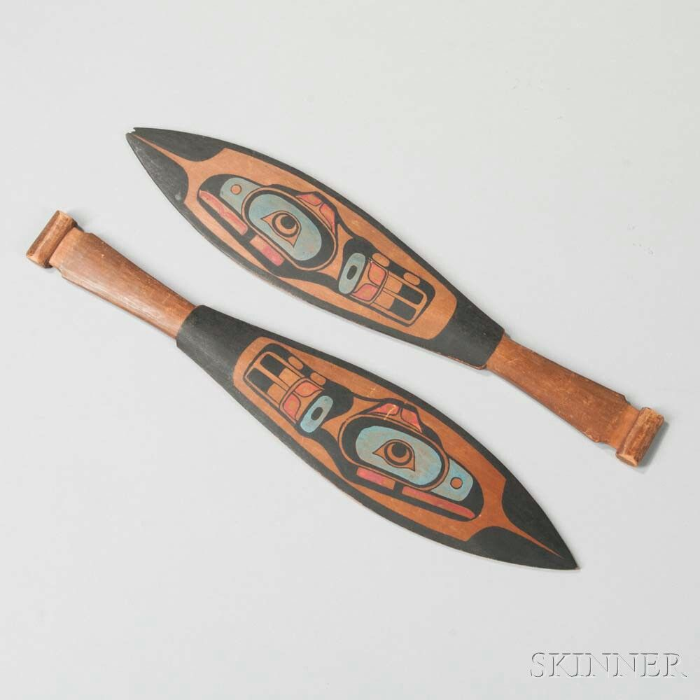 Pair of Northwest Coast Carved and Painted Paddles. | Lot 206 | Auction 2964B | Estimate $400-600