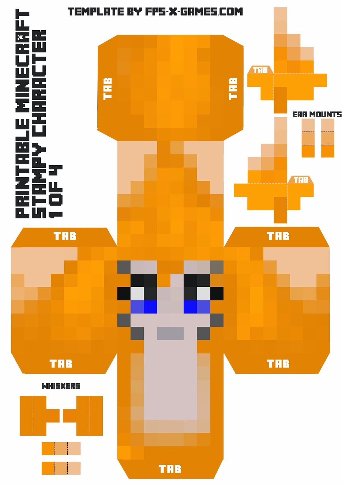 Stampy Cat Large Minecraft Printable Stampy Character 1