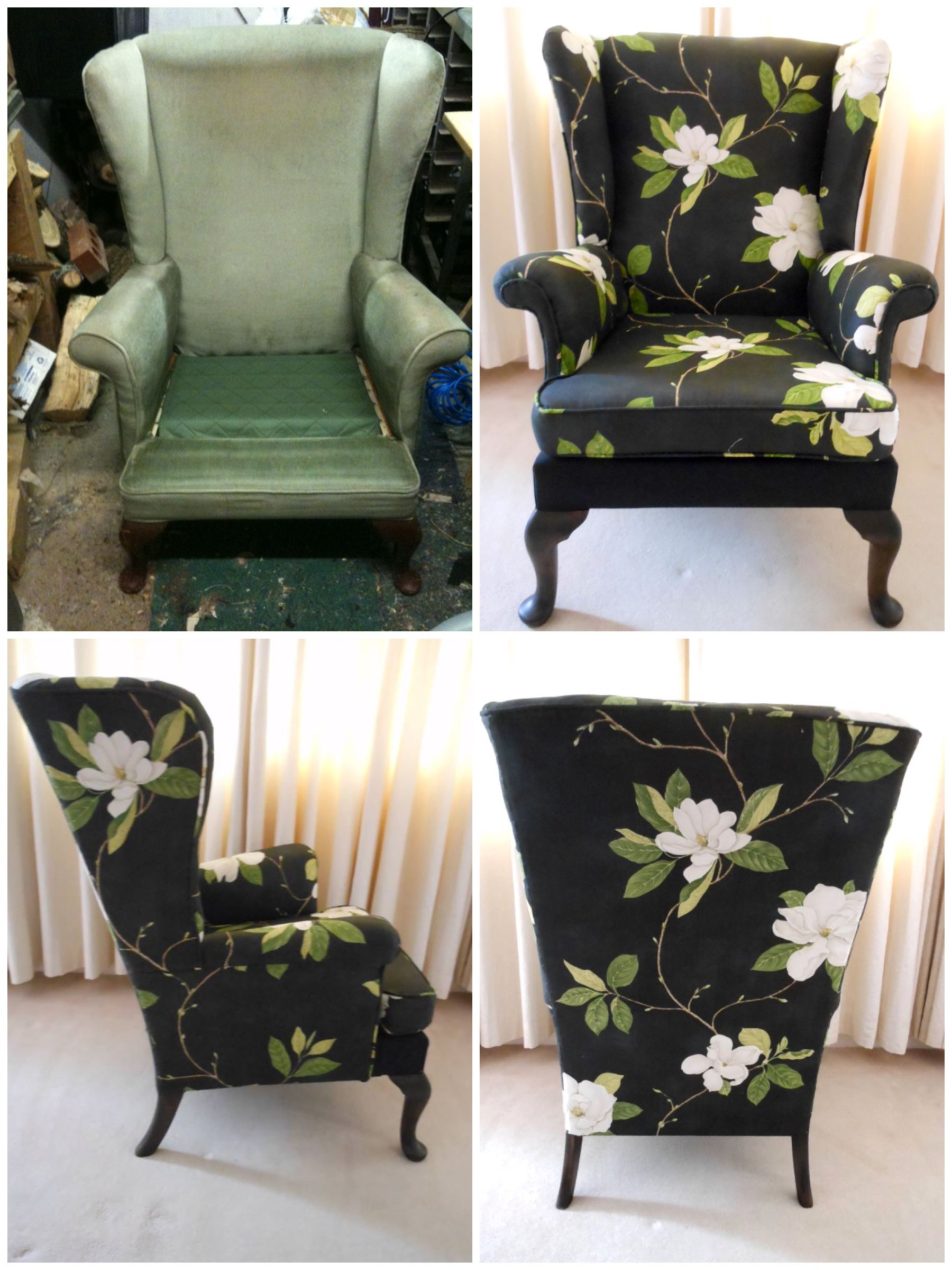 Parker Knoll wing chair reupholstered in Sanderson Sweet